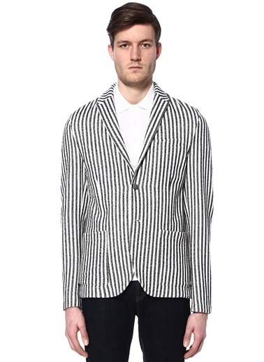 Harris Wharf London Çizgili Blazer Ceket Lacivert